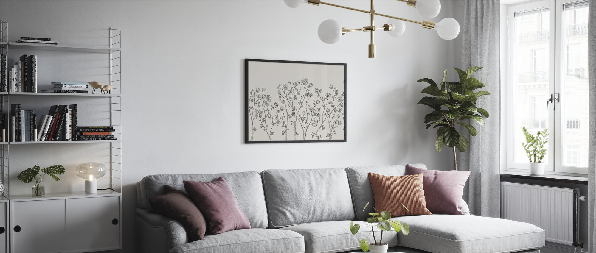 Crescent Vegetative - Bright - Framed print - Living Room