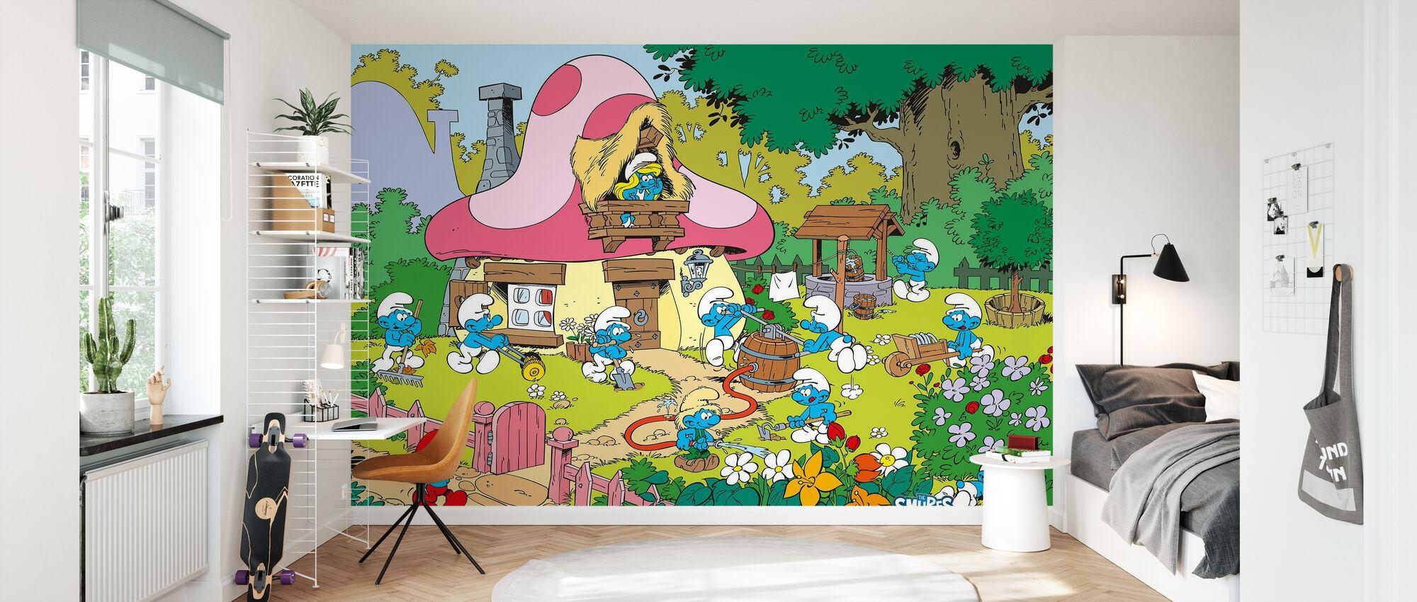 Smurfs - Spring - Wallpaper - Kids Room