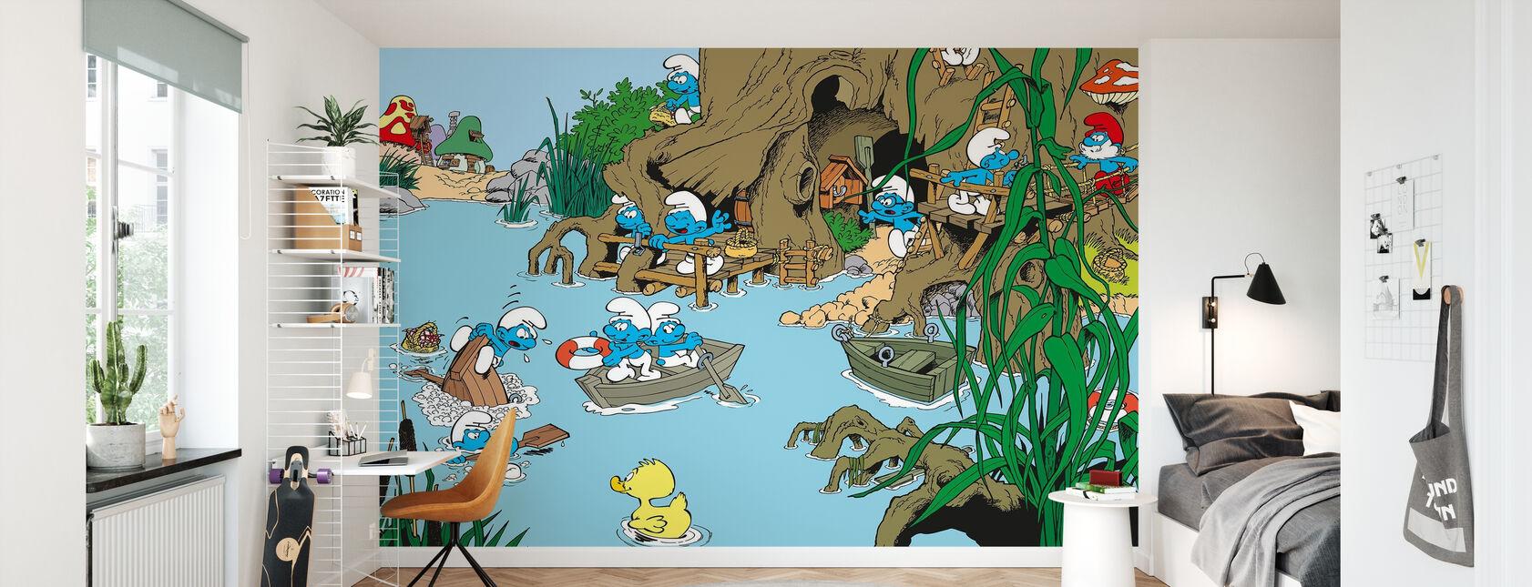 Pitufos - Verano - Papel pintado - Cuarto de niños