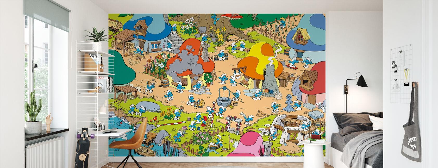 Schtroumpfs - Village - Papier peint - Chambre des enfants