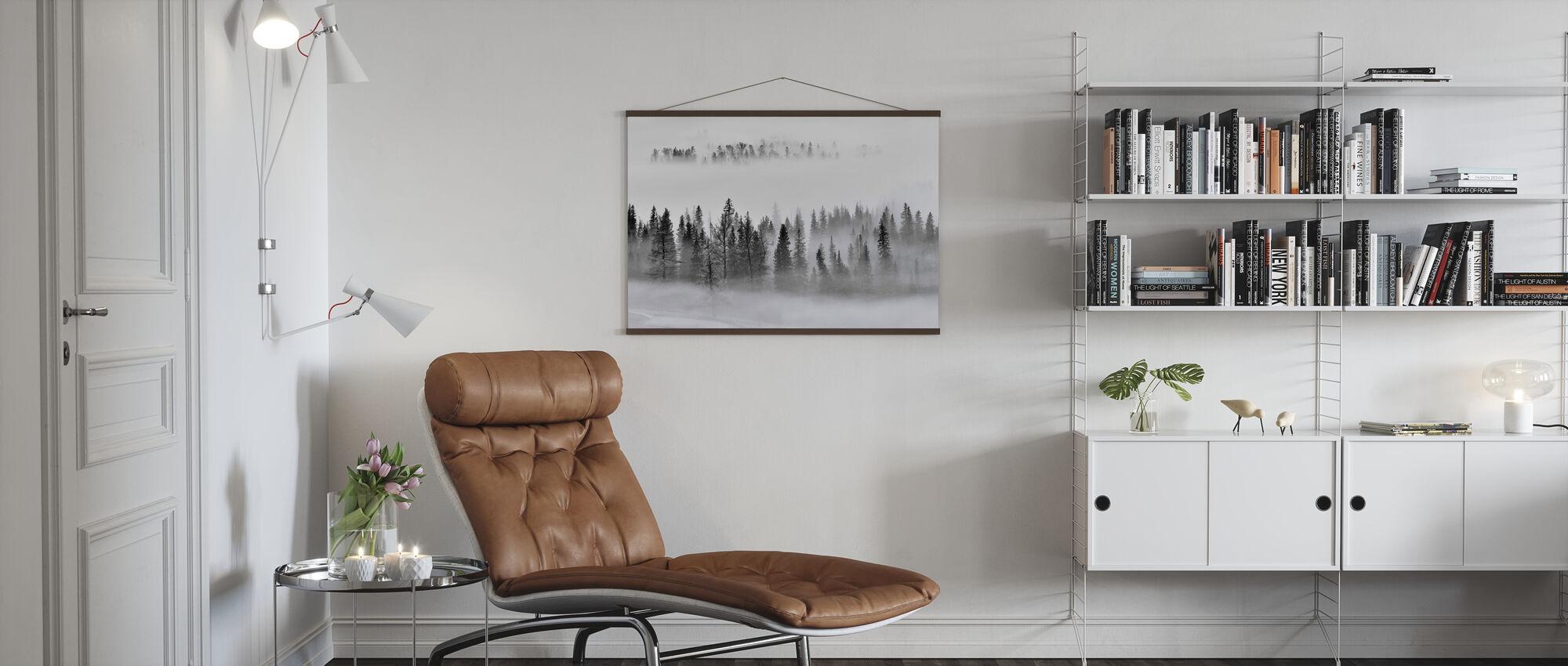 Mistig bos - Poster - Woonkamer