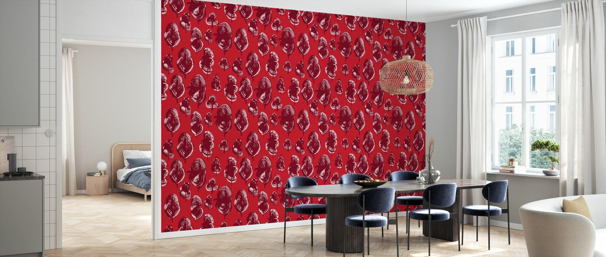 Leaves - Red Poppy - Wallpaper - Kitchen