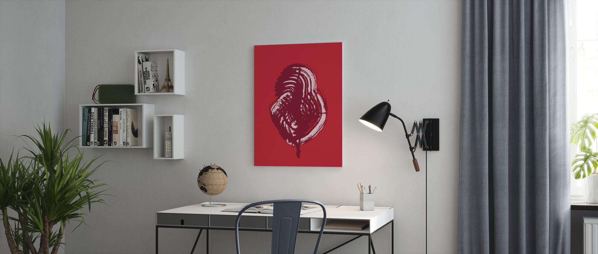Leaves - Red Poppy - Canvas print - Office