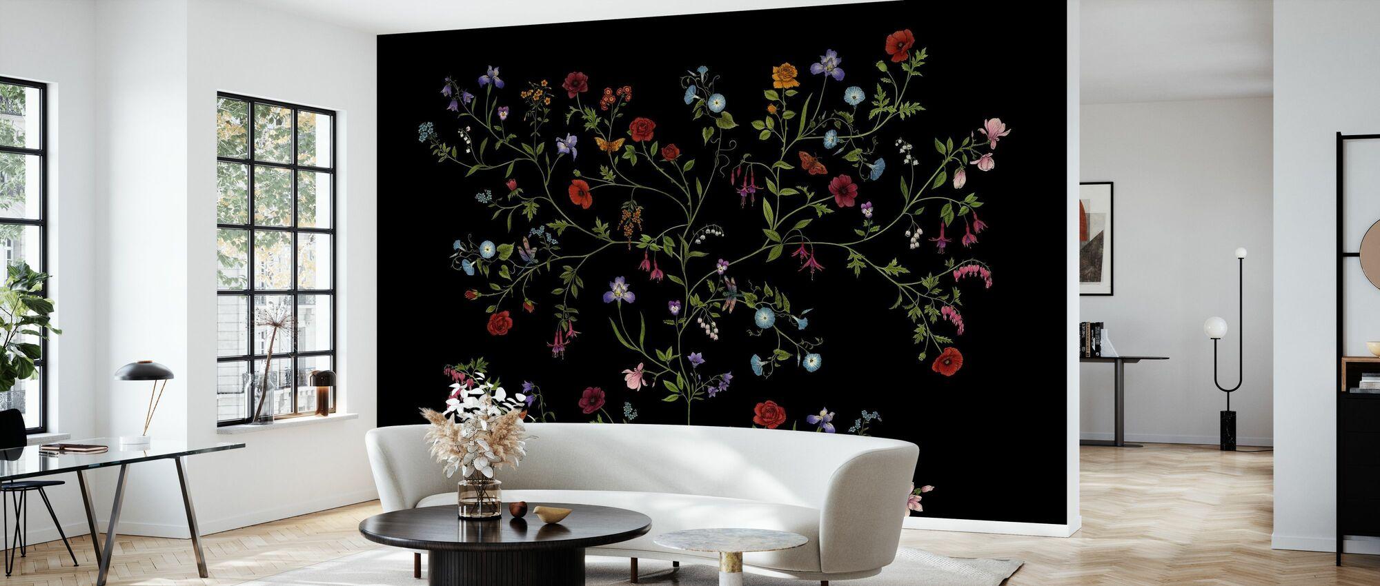 Flora - Svart - Tapet - Vardagsrum