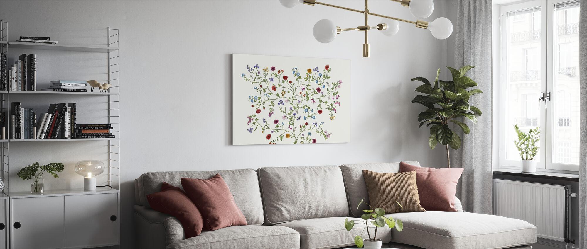 Flora - White - Canvas print - Living Room