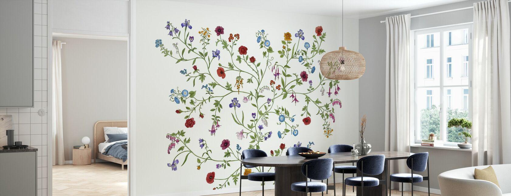 Flora - White - Wallpaper - Kitchen
