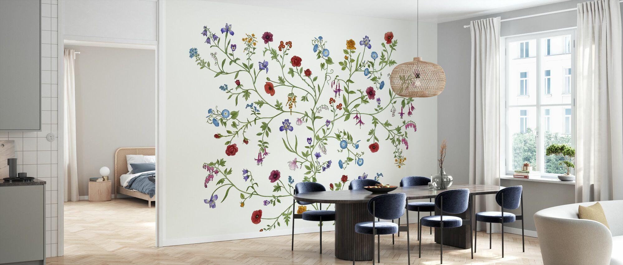 Flora - Blanco - Papel pintado - Cocina