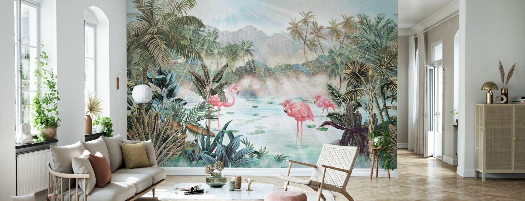 Flamingo Essay - Emerald - Wallpaper - Living Room