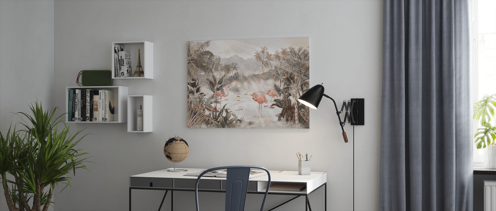 Flamingo Essay - Sepia - Lerretsbilde - Kontor