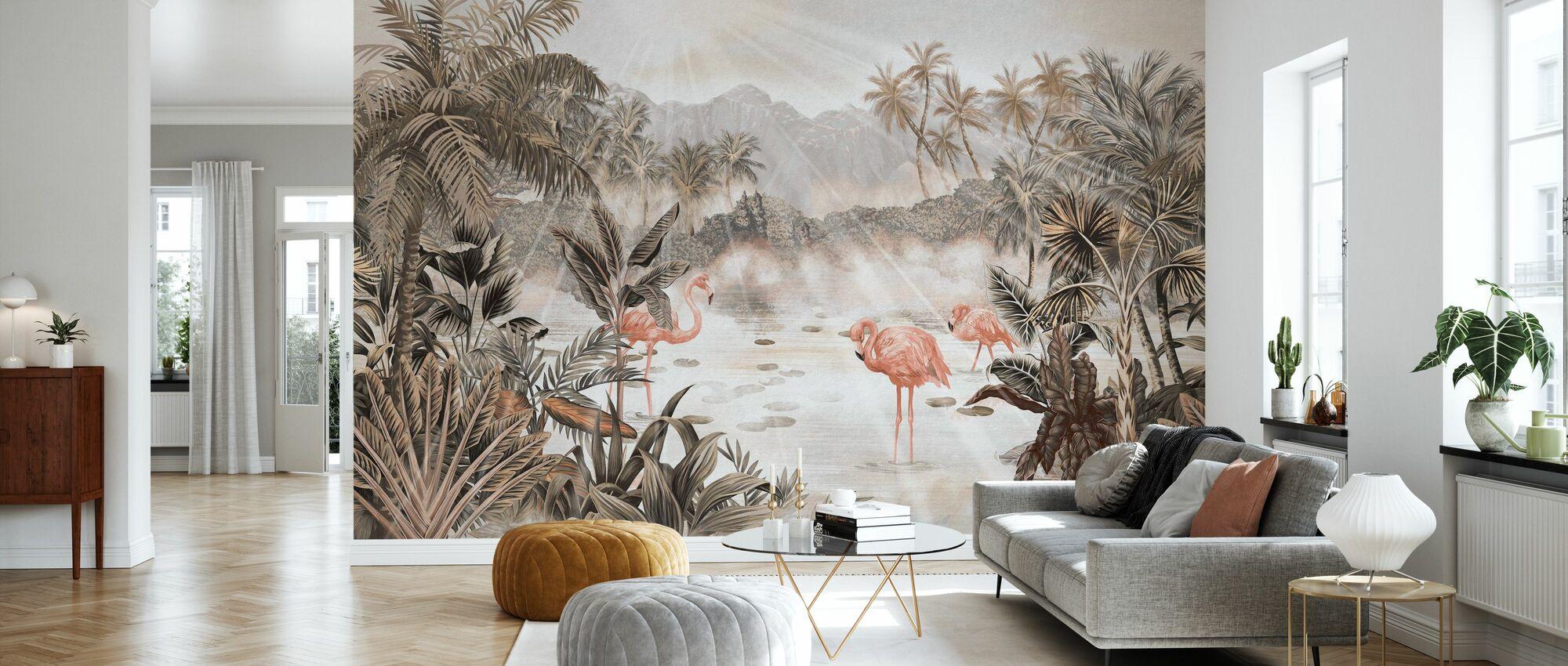 Esej flamingowy - Sepia - Tapeta - Pokój dzienny