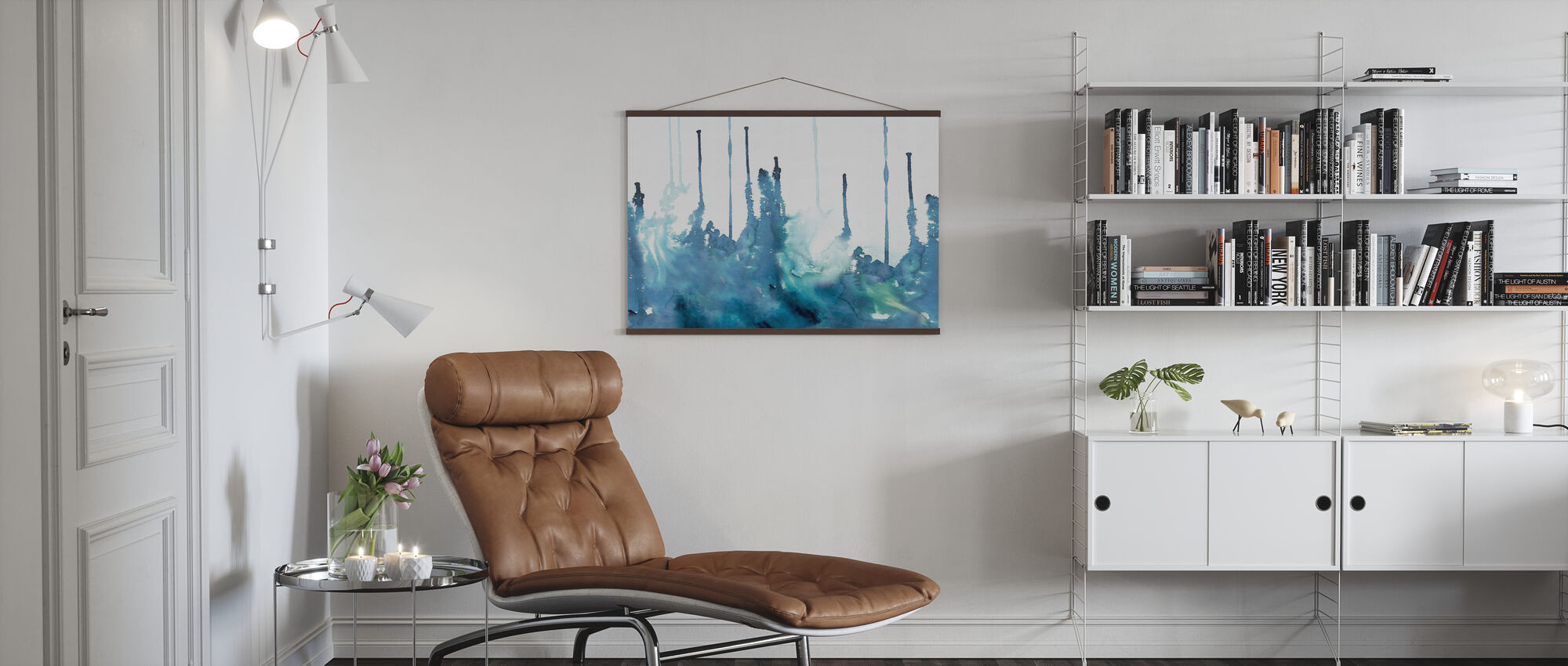 Watercolor Study - Azure - Poster - Living Room
