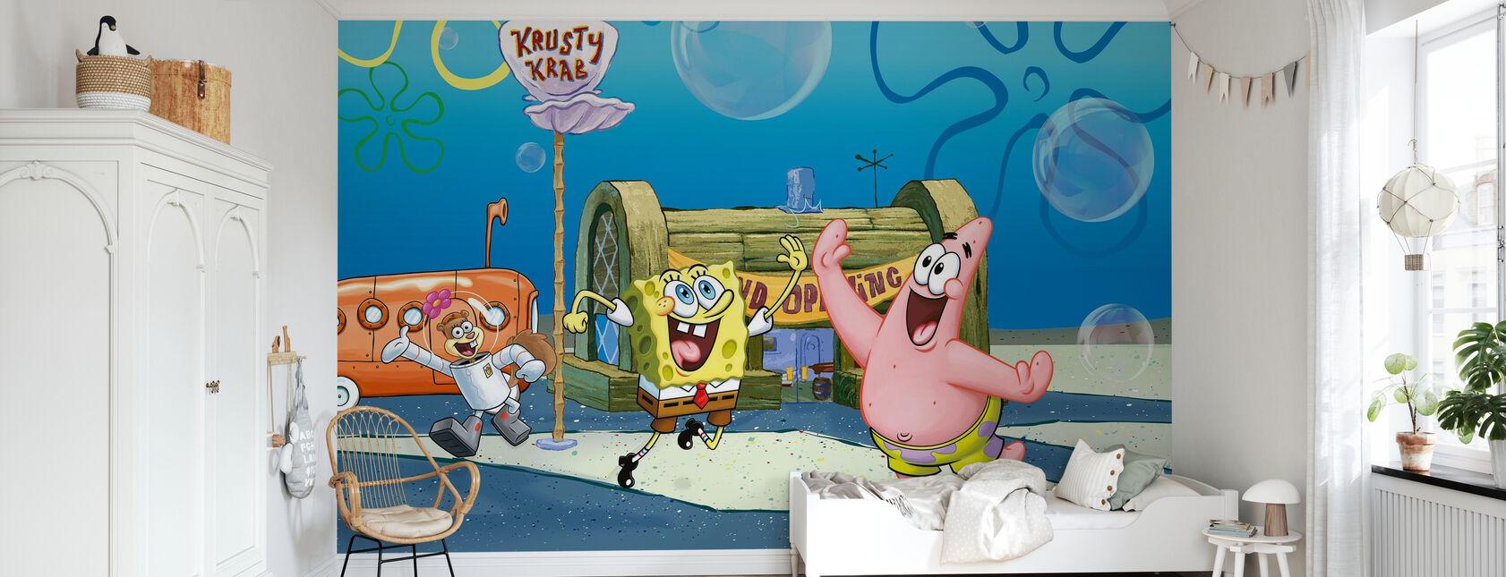 Sponge Bob - Grand Opening at the Krusty Krab - Wallpaper - Kids Room
