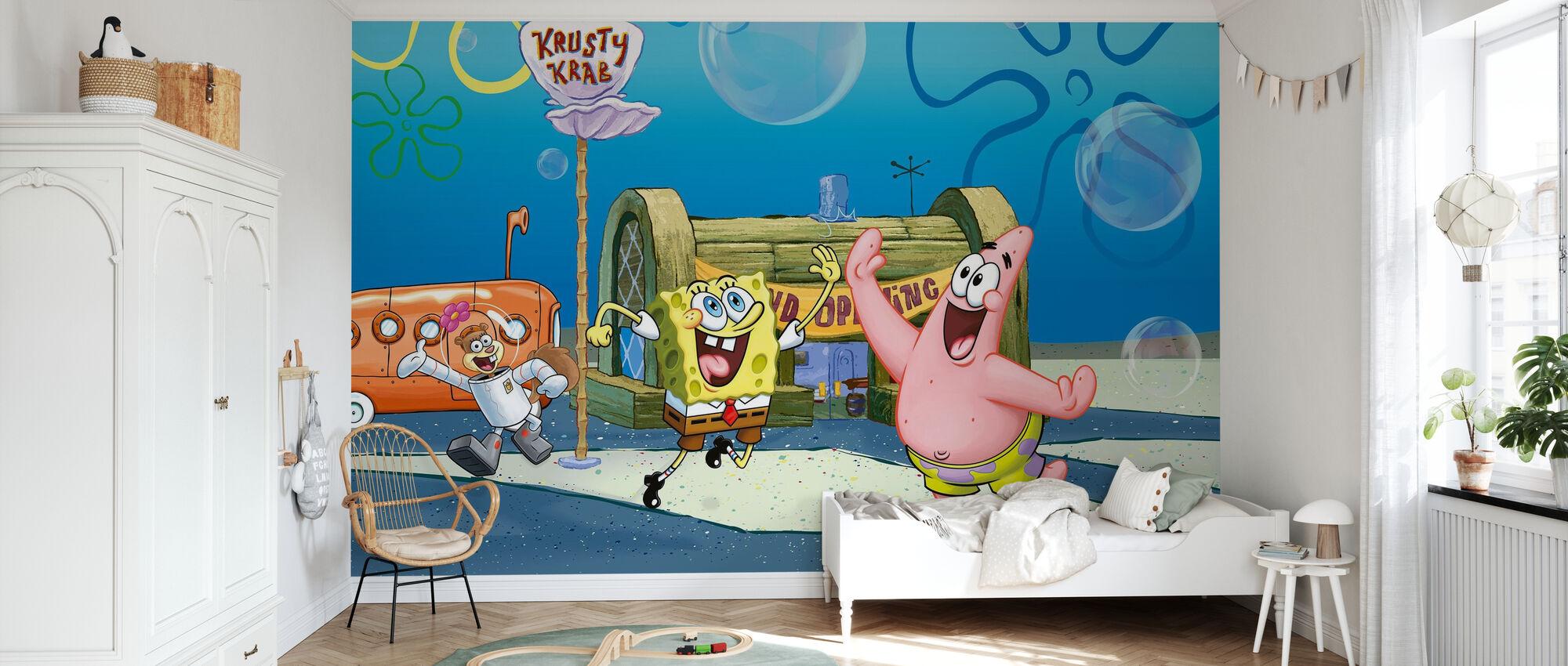 Bob Esponja - Gran Apertura en el Krusty Krab - Papel pintado - Cuarto de niños