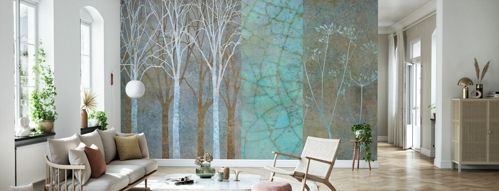 Collage in Mint - Wallpaper - Living Room