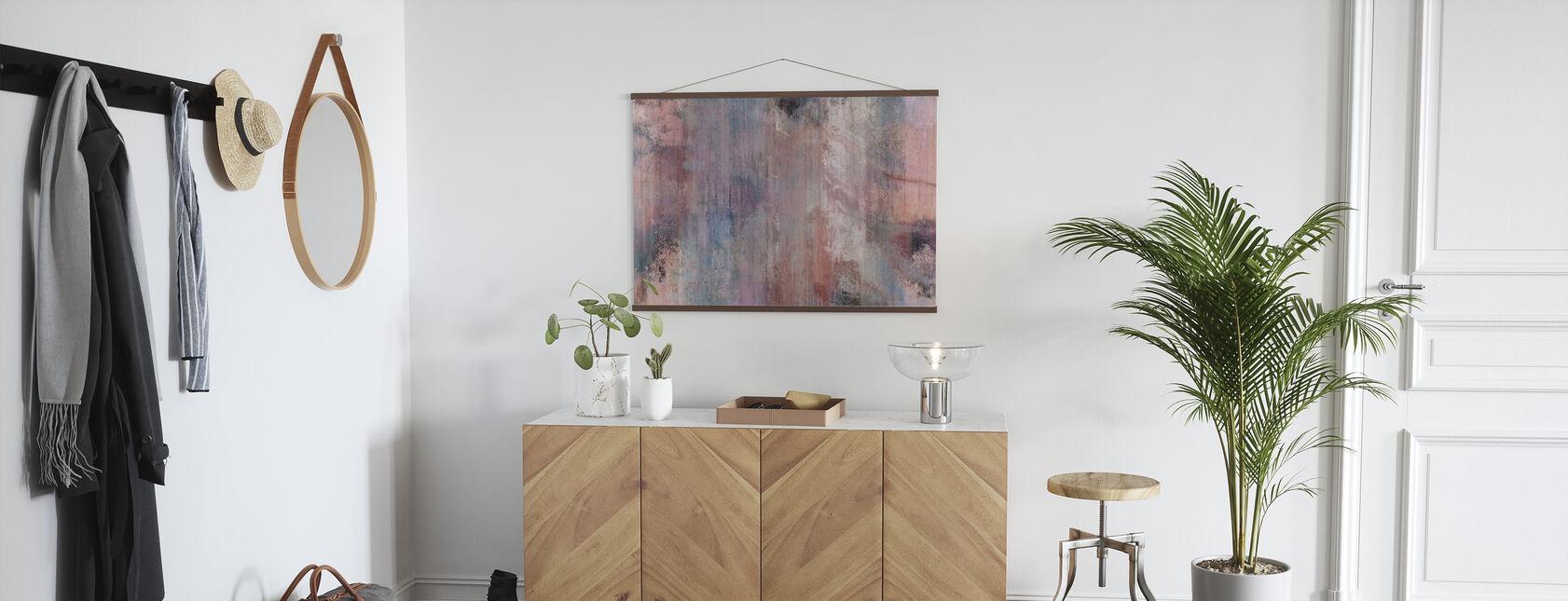Różowo-szara ściana - Plakat - Przedpokój