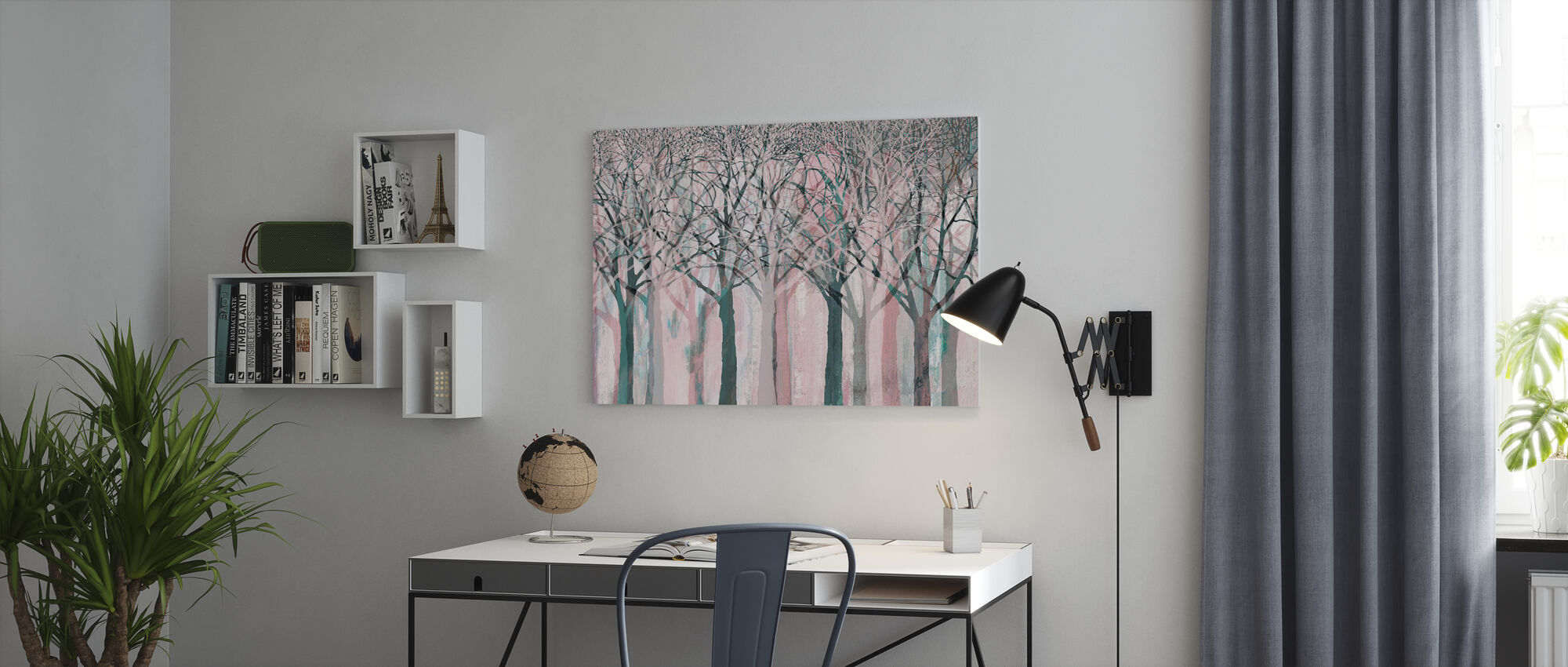 Row of Trees Pink - Canvas print - Office