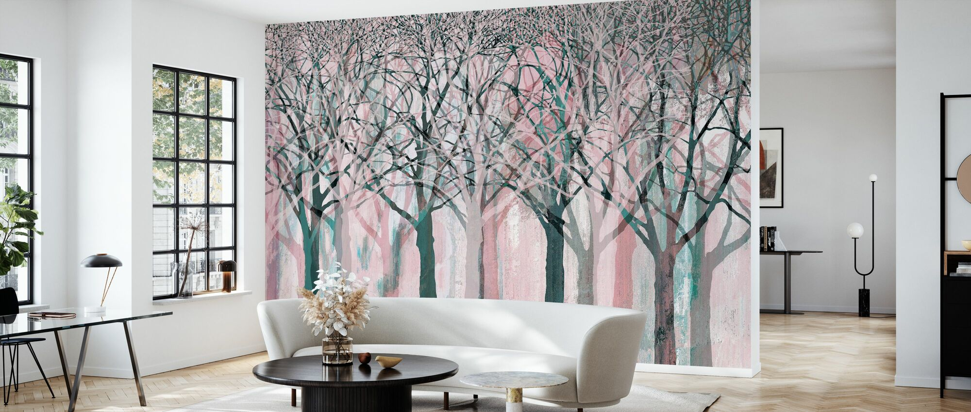 Row of Trees Pink - Wallpaper - Living Room
