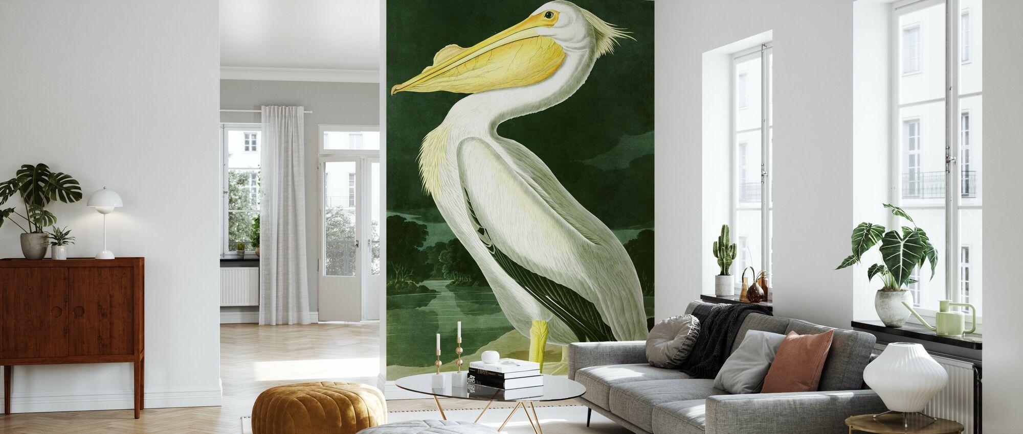 White Pelican - John James Audubon - Wallpaper - Living Room