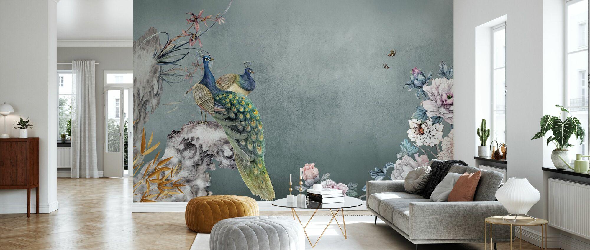 Peacock Mentelle - Wallpaper - Living Room