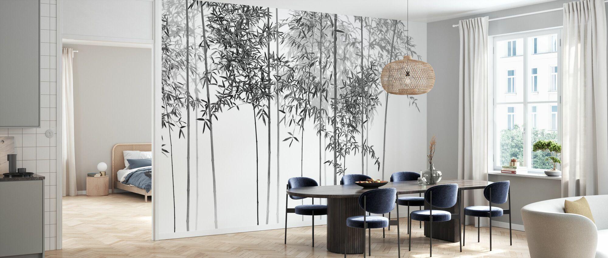 Vista Alberi di Bambù - bw - Carta da parati - Cucina
