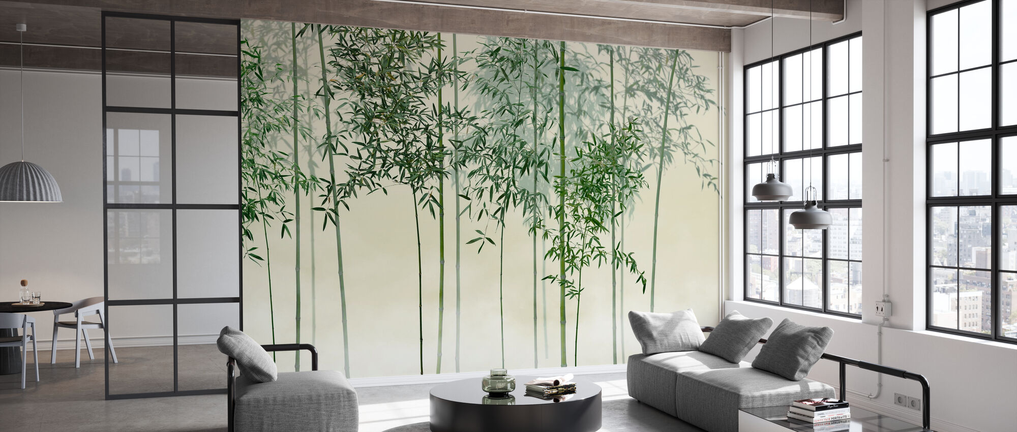 Bamboo Trees View - Green - Wallpaper - Office