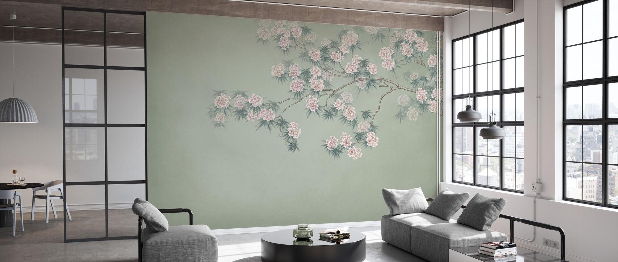 Blomstrende Gren - Smaragd - Tapet - Kontor