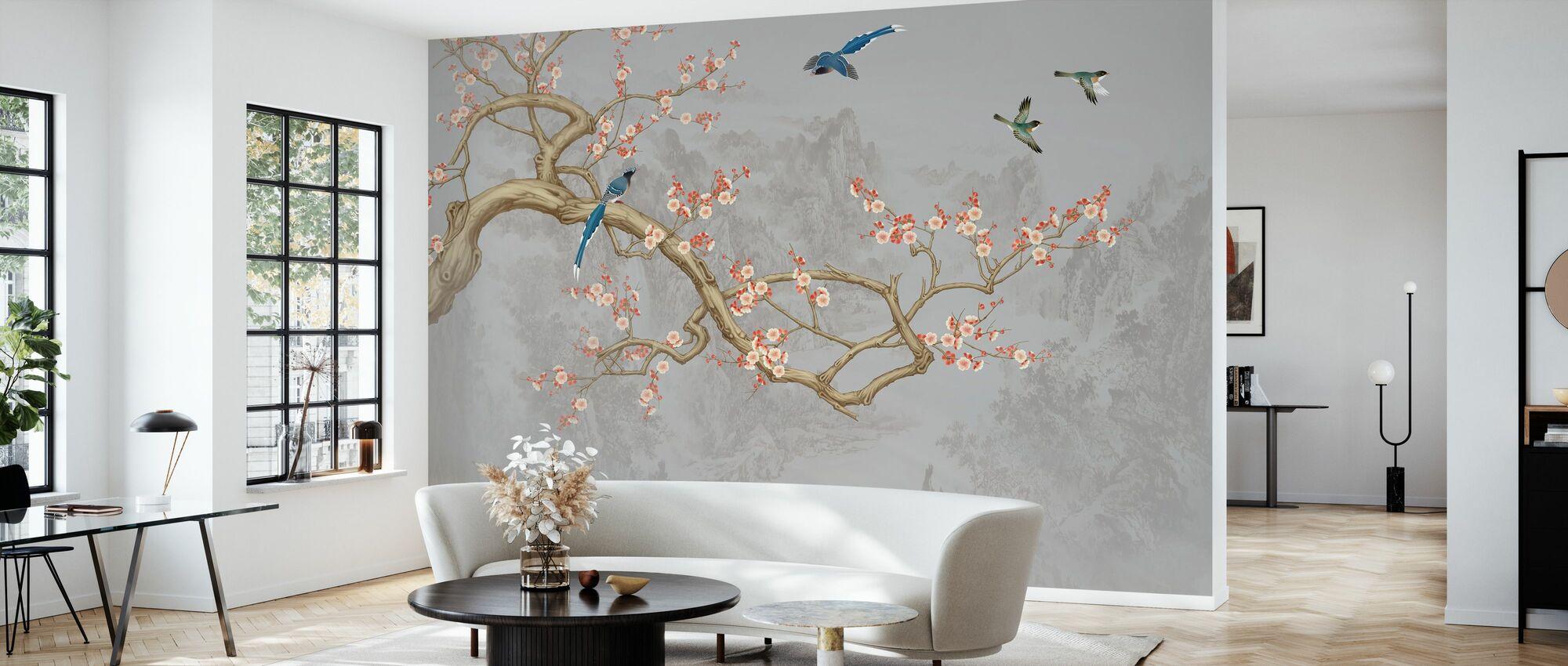 Vogelhöhen - Pearly - Tapete - Wohnzimmer