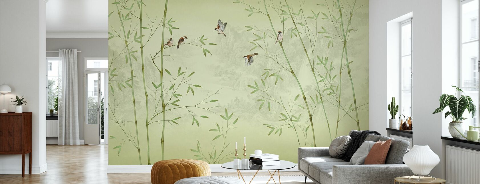 Bamboo Birds - Yellowish - Wallpaper - Living Room