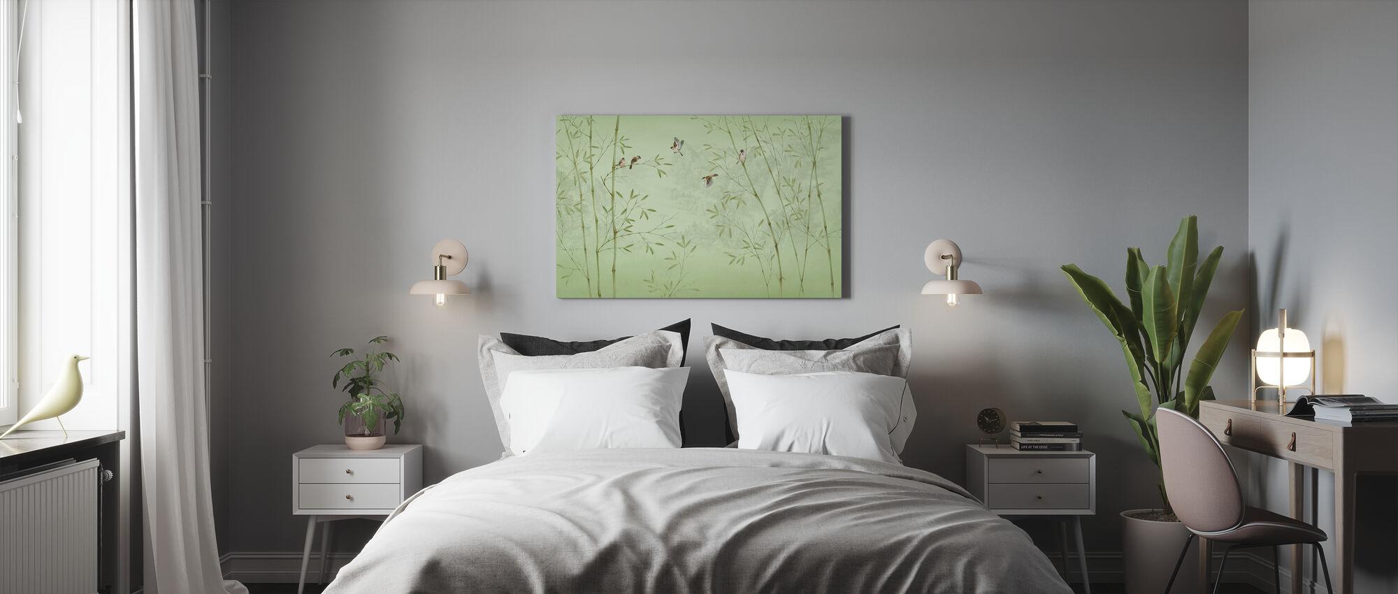 Bamboo Birds -Emerald - Canvas print - Bedroom