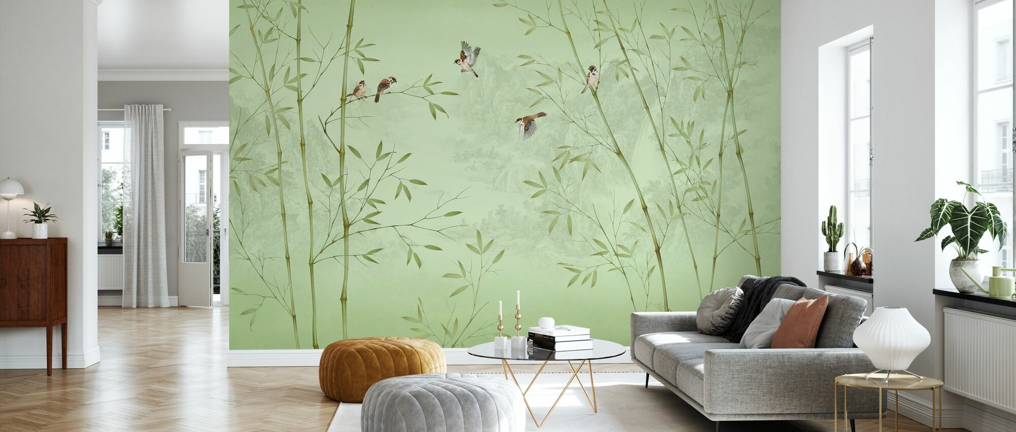 Uccelli di bambù -Smeraldo - Carta da parati - Salotto