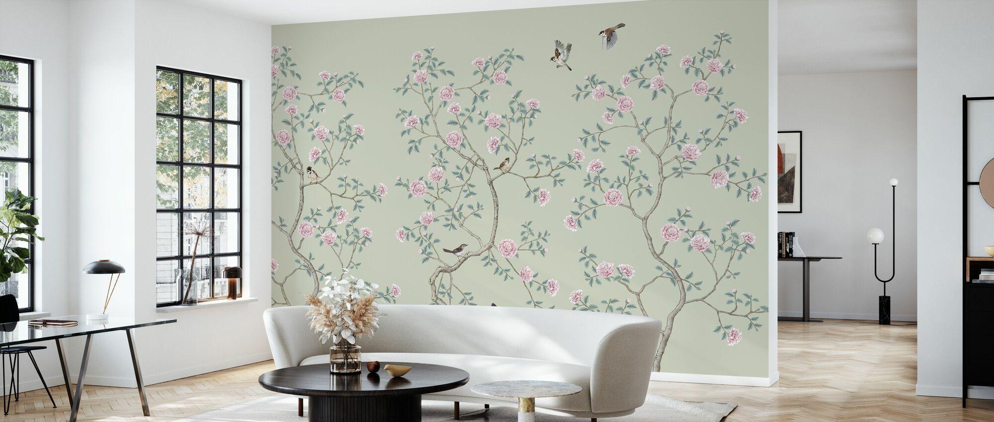 Flowering Chinoiserie Birds Pea - Wallpaper - Living Room