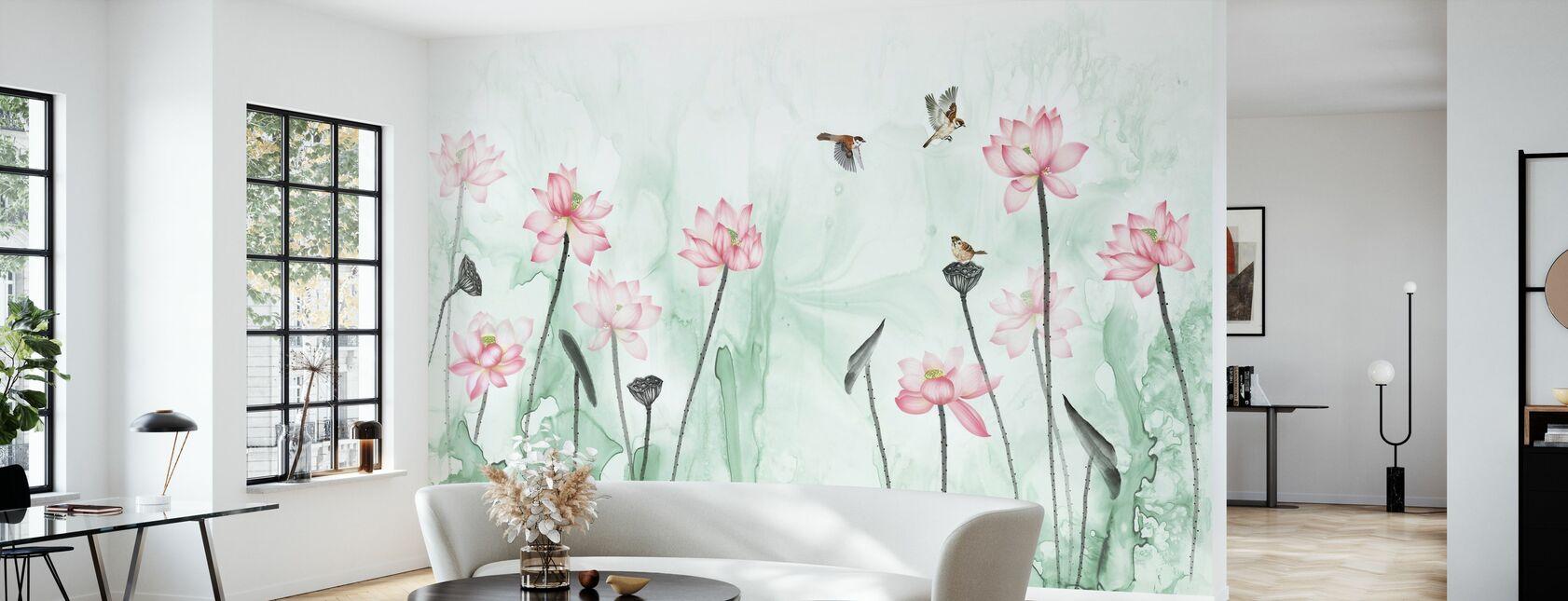 Oiseaux et jardin de fleurs - Vert - Papier peint - Salle à manger