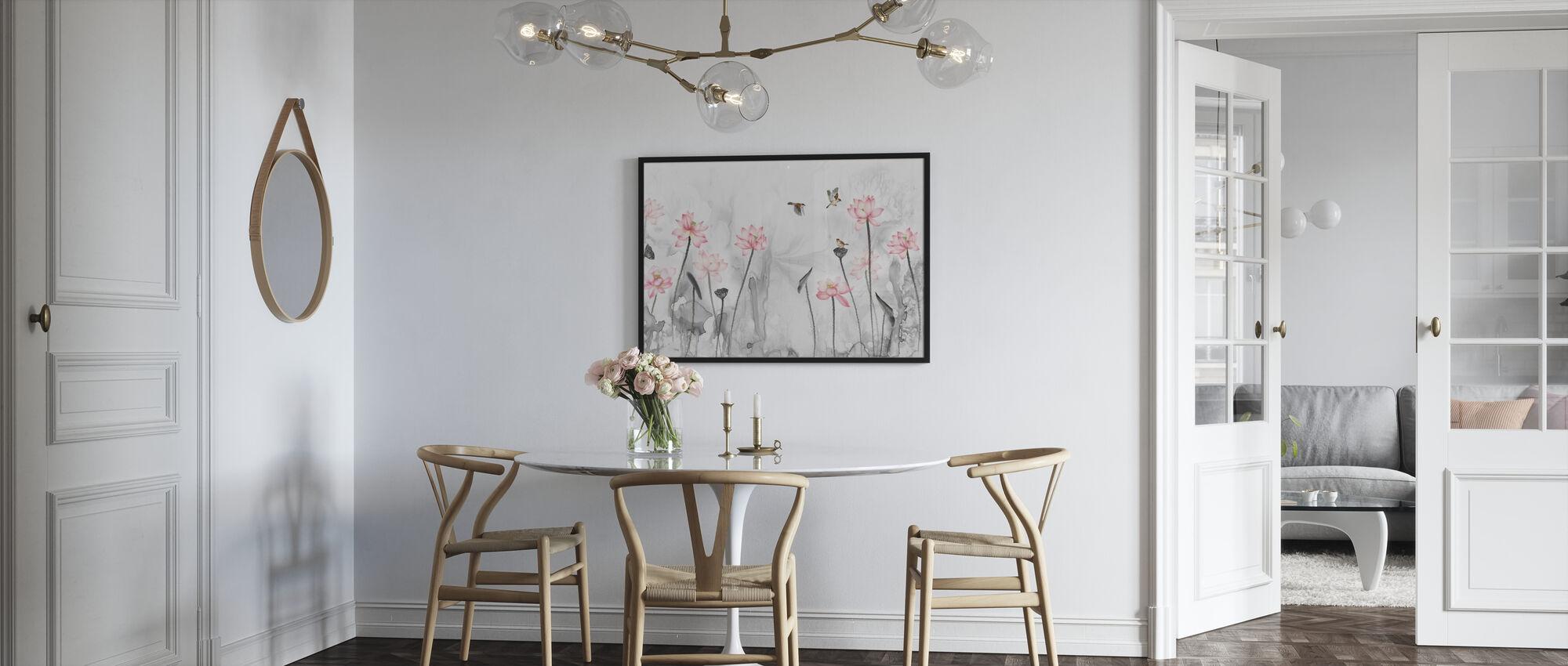 Fugler og blomsterhage - Plakat - Kjøkken