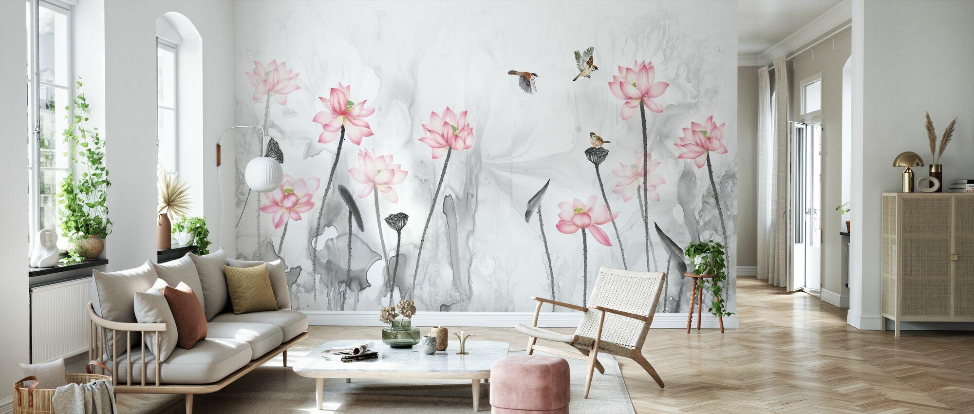 Vögel und Blumengarten - Tapete - Wohnzimmer