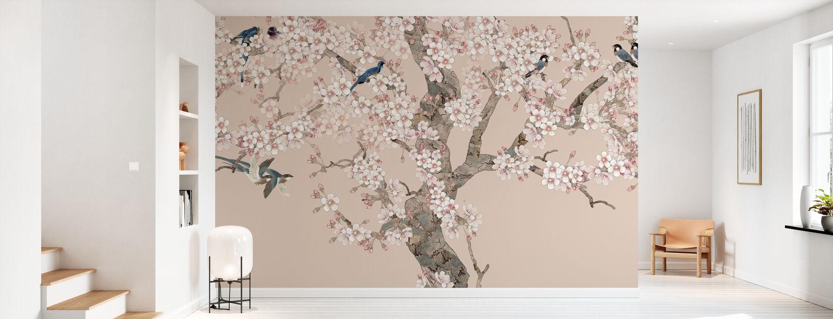 Doux Birds Home - Peach - Wallpaper - Hallway