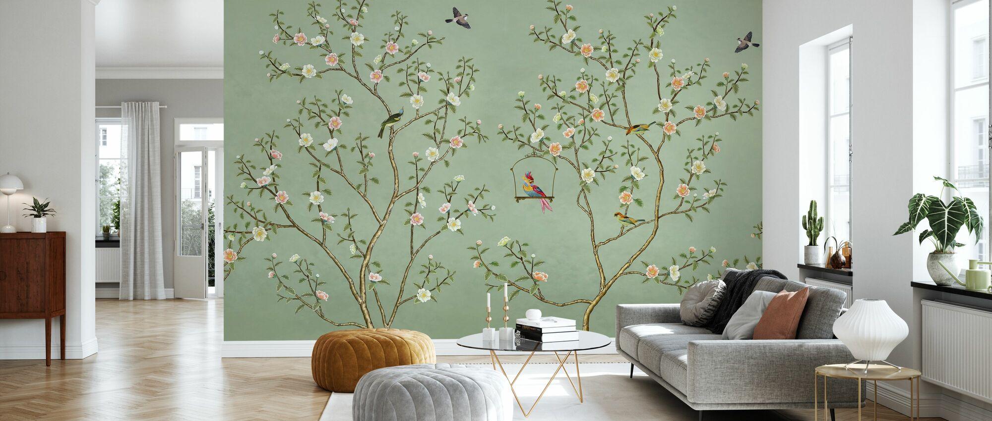Birds Hangout - Emerald - Wallpaper - Living Room