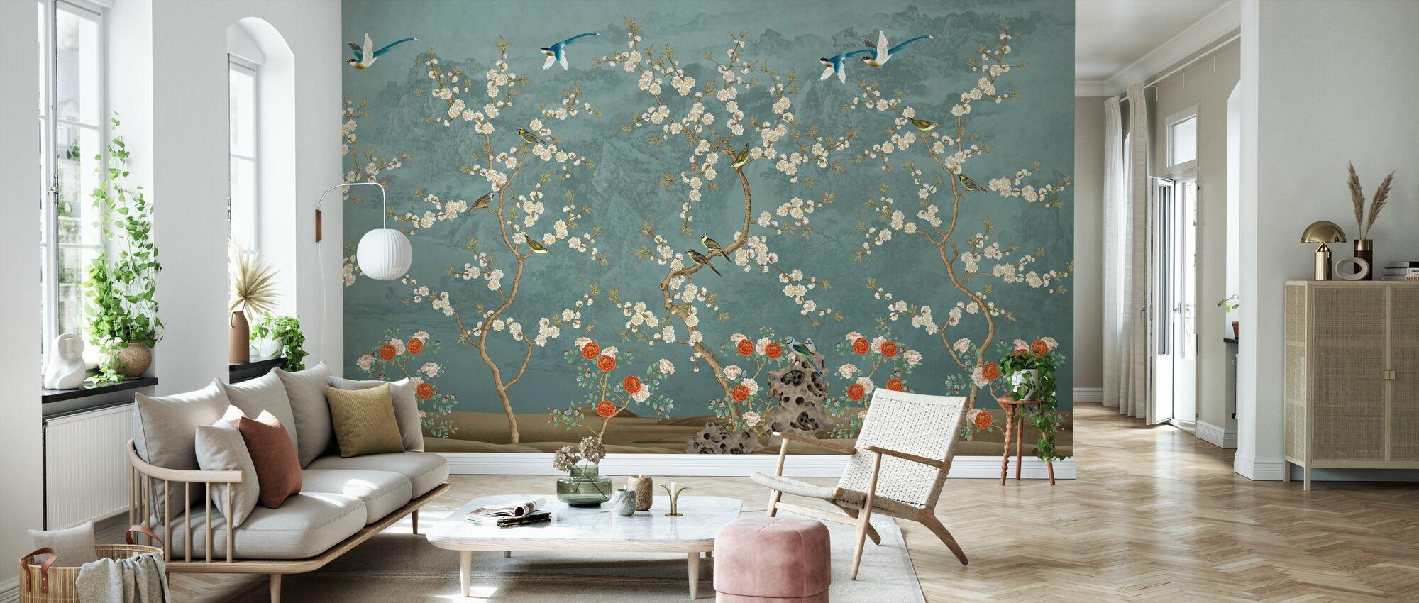 Chinoiserie Garten - Blau - Tapete - Wohnzimmer