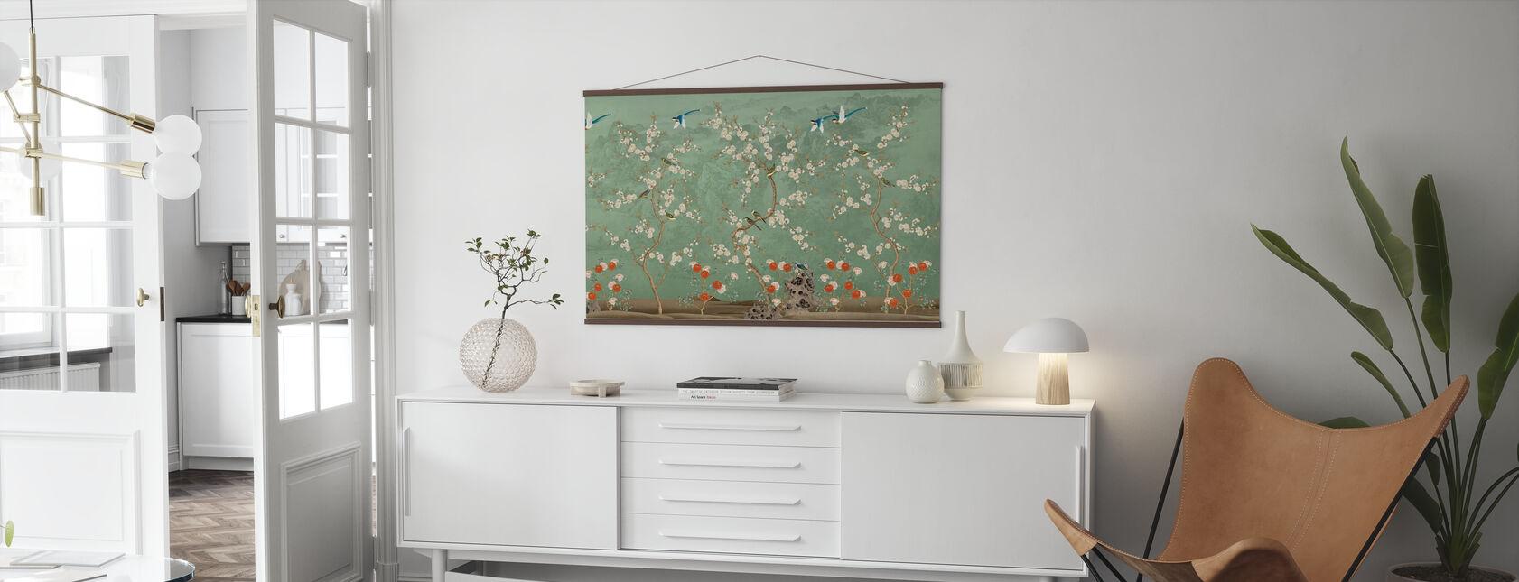 Chinoiserie Garten - Smaragd - Poster - Wohnzimmer