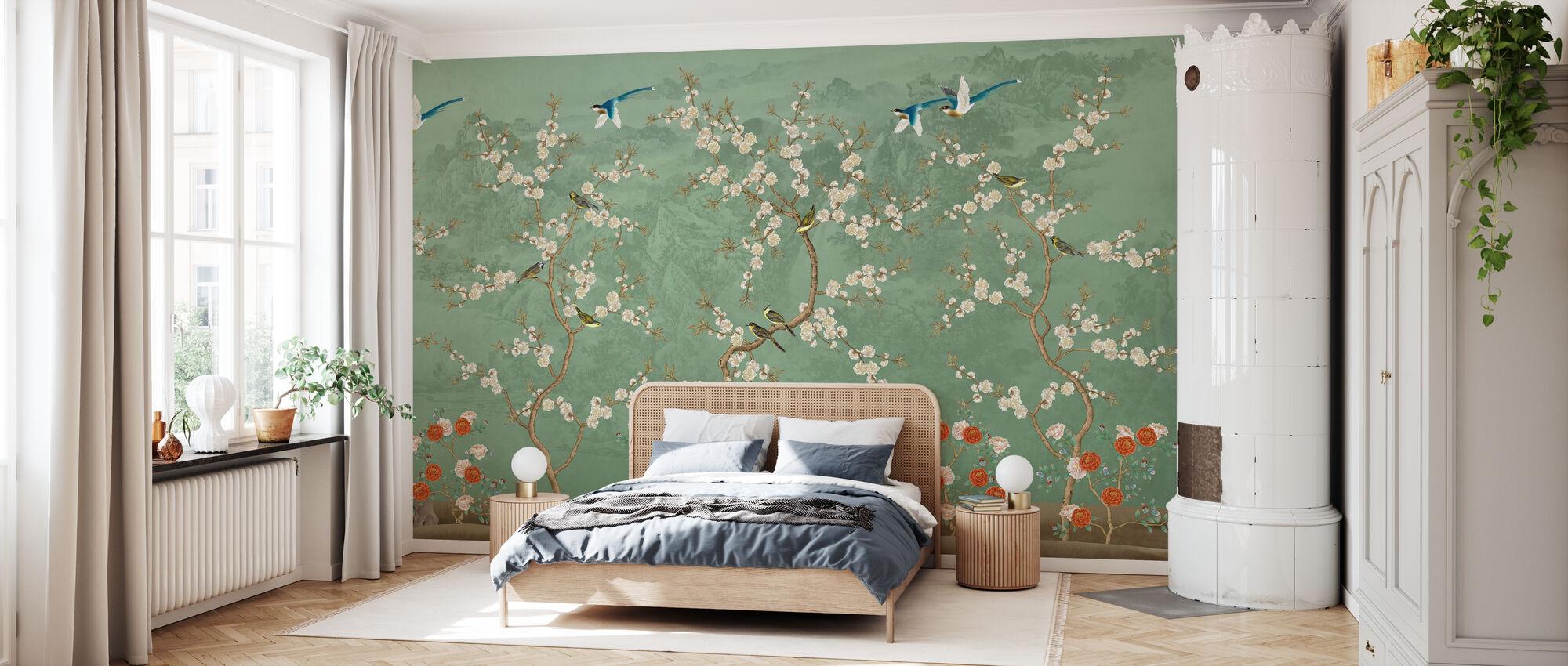 Chinoiserie Garden - Emerald - Wallpaper - Bedroom