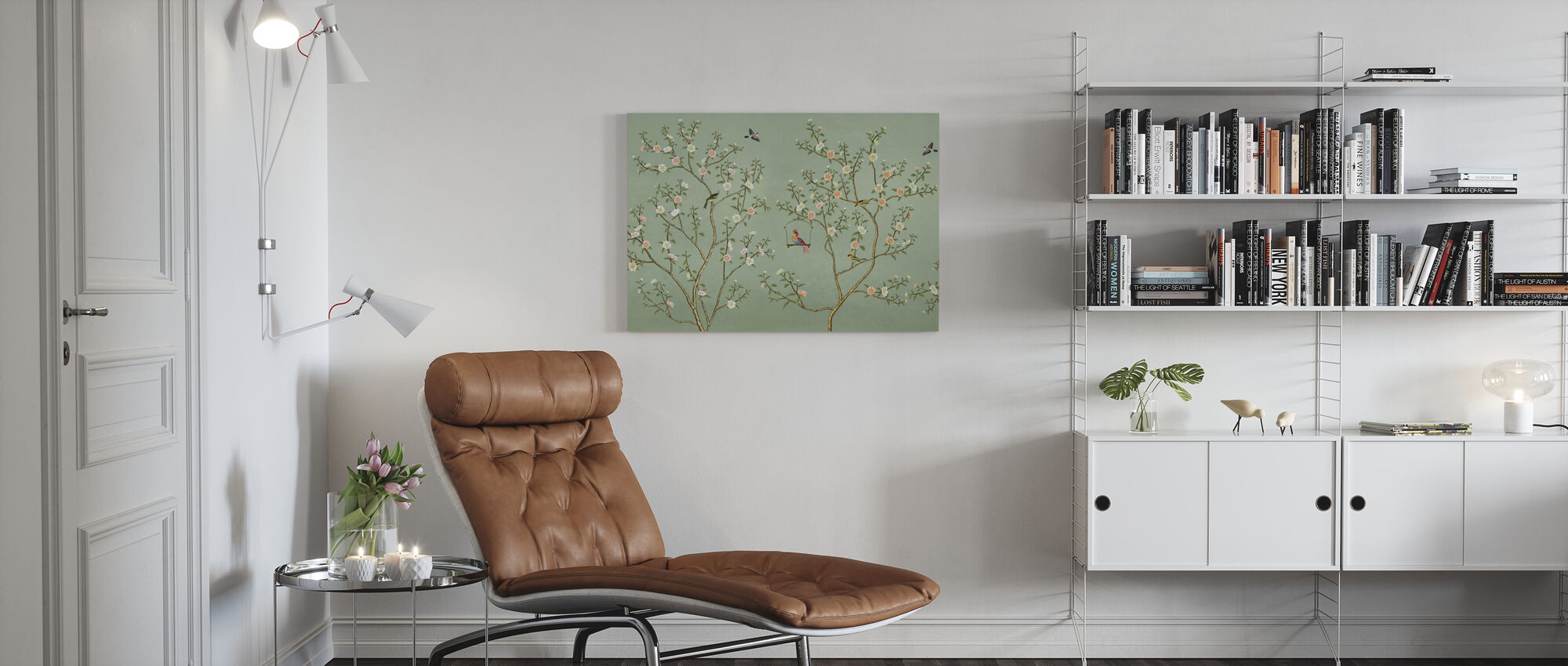 New Chinoiserie - Emerald - Canvas print - Living Room