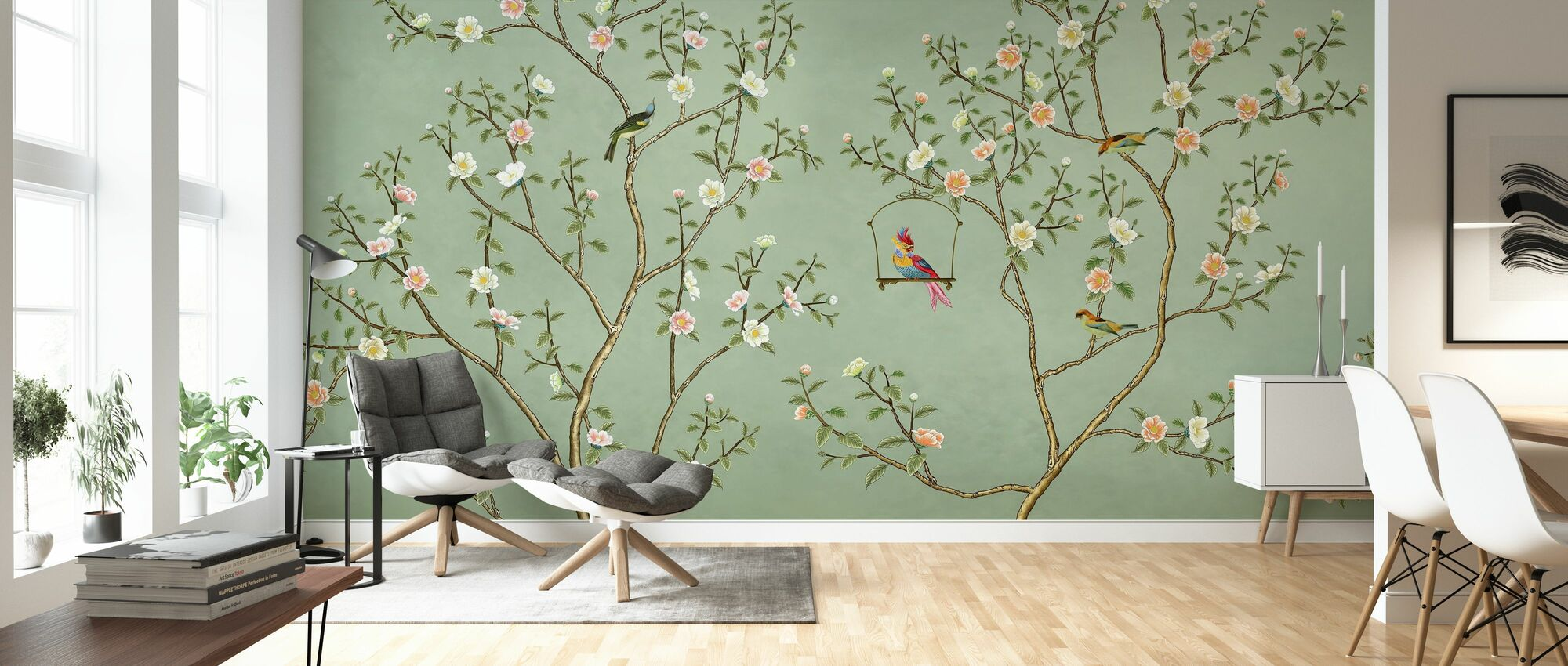New Chinoiserie - Emerald - Wallpaper - Living Room