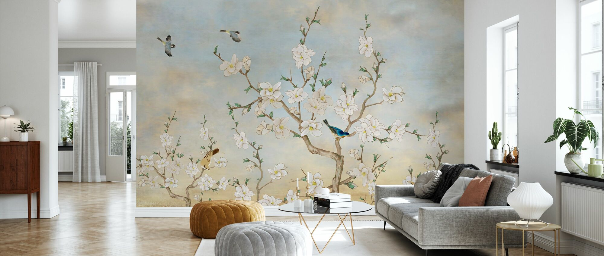 Birds Flora - Wallpaper - Living Room