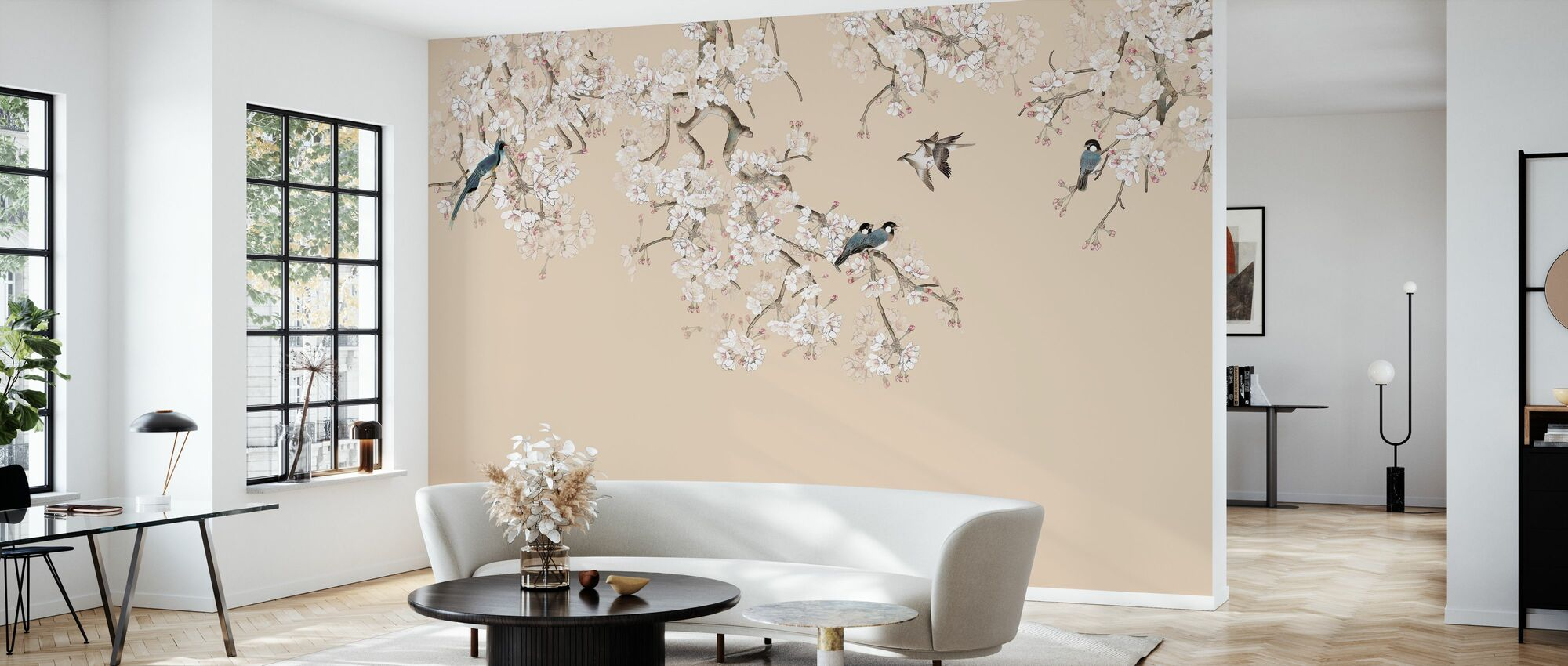 Birds Hangout - Peach - Wallpaper - Living Room