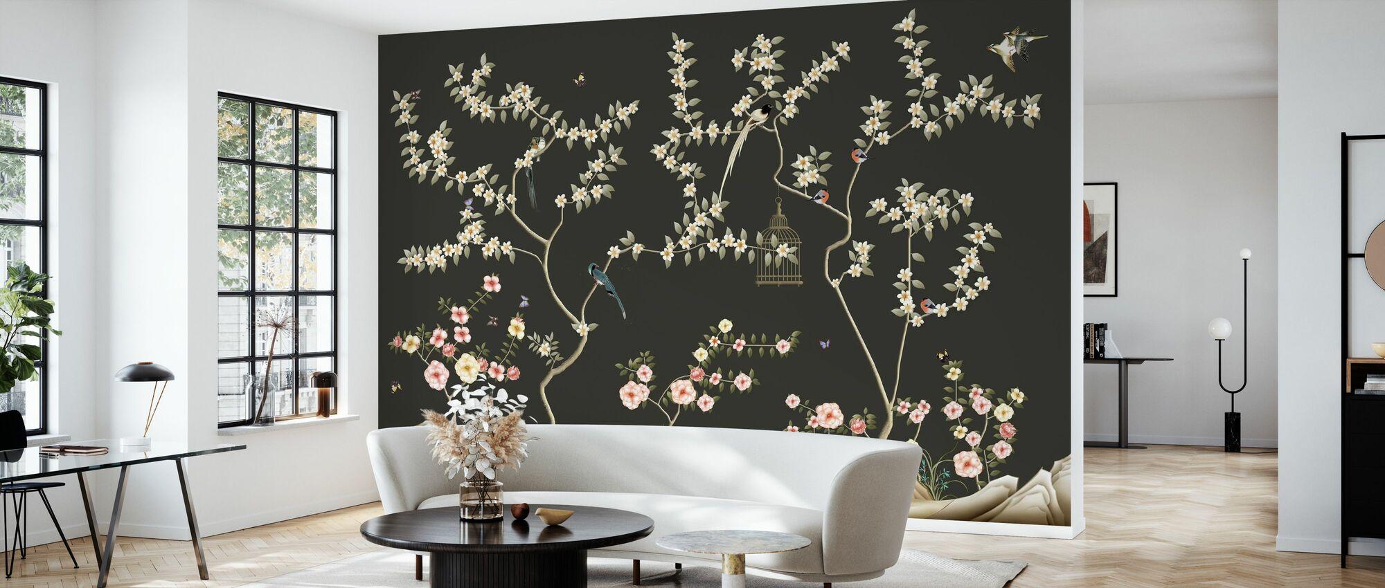 Birds Shangri-La - Dark - Wallpaper - Living Room