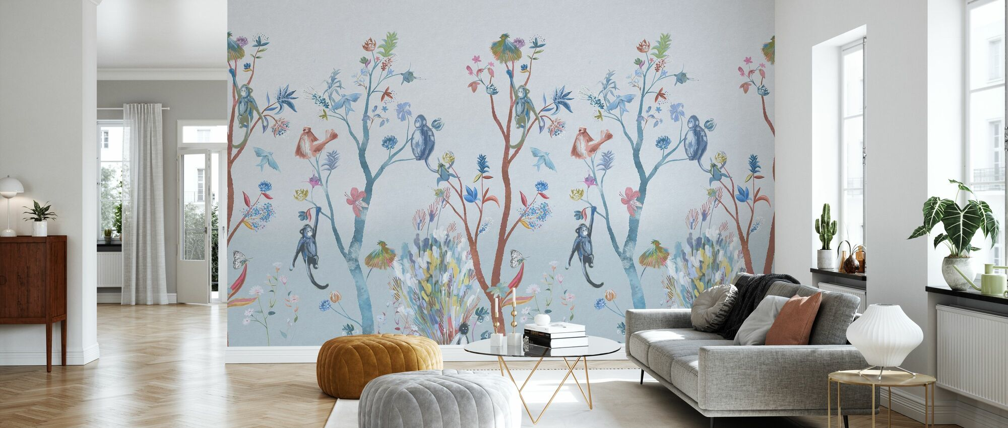 Kitsch Nature - Blue - Wallpaper - Living Room