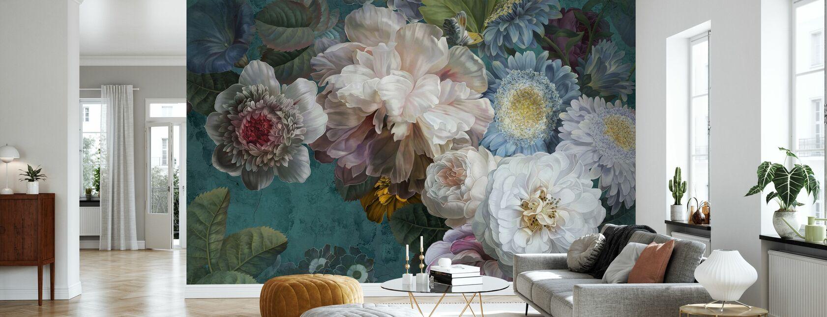 Lustre Arrangement - Emerald - Wallpaper - Living Room