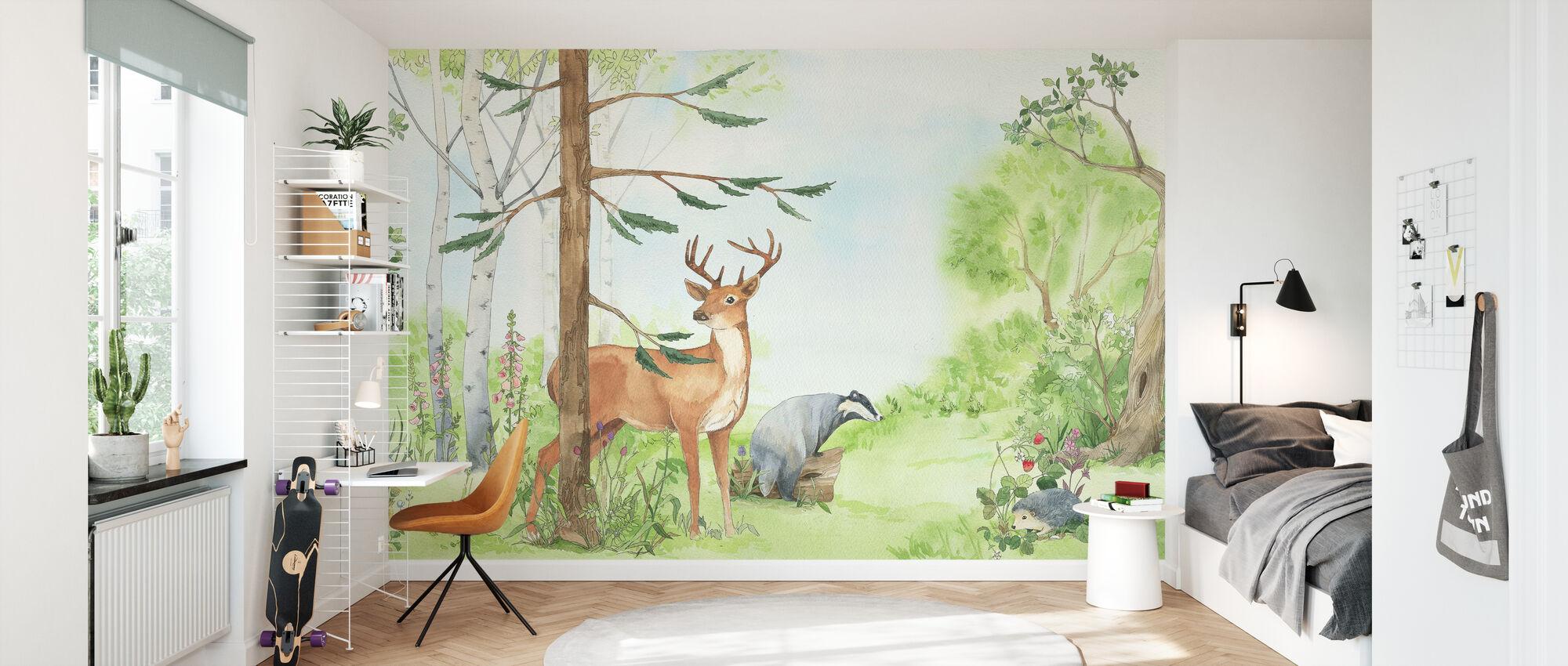 Forest Animal Venner - Tapet - Barnerom