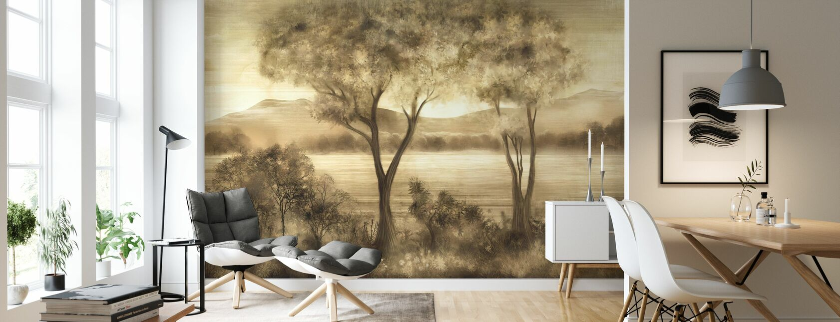 Lay of the Land - Cream - Wallpaper - Living Room
