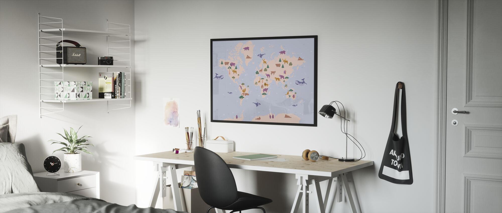 Dierenwereld Kaart - Ingelijste print - Kinderkamer
