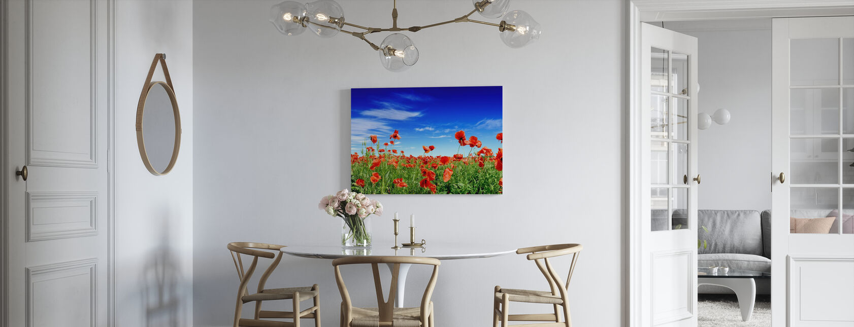 Red Poppies on Green Field - Canvas print - Kitchen